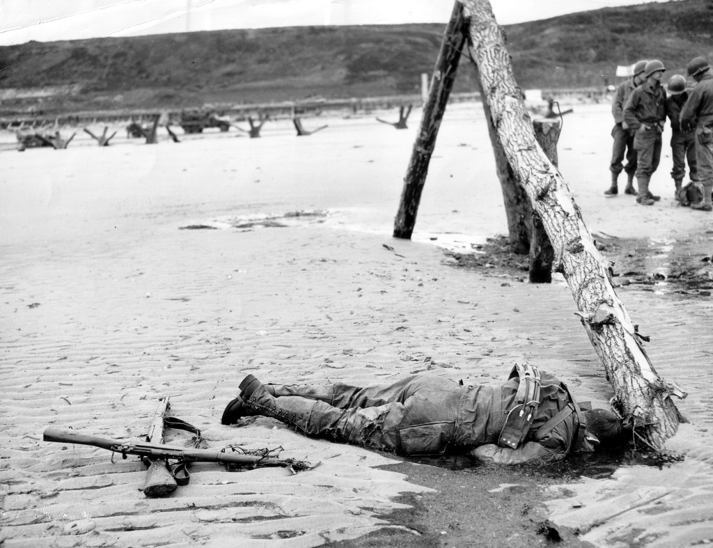 American casualty on Omaha Beach.