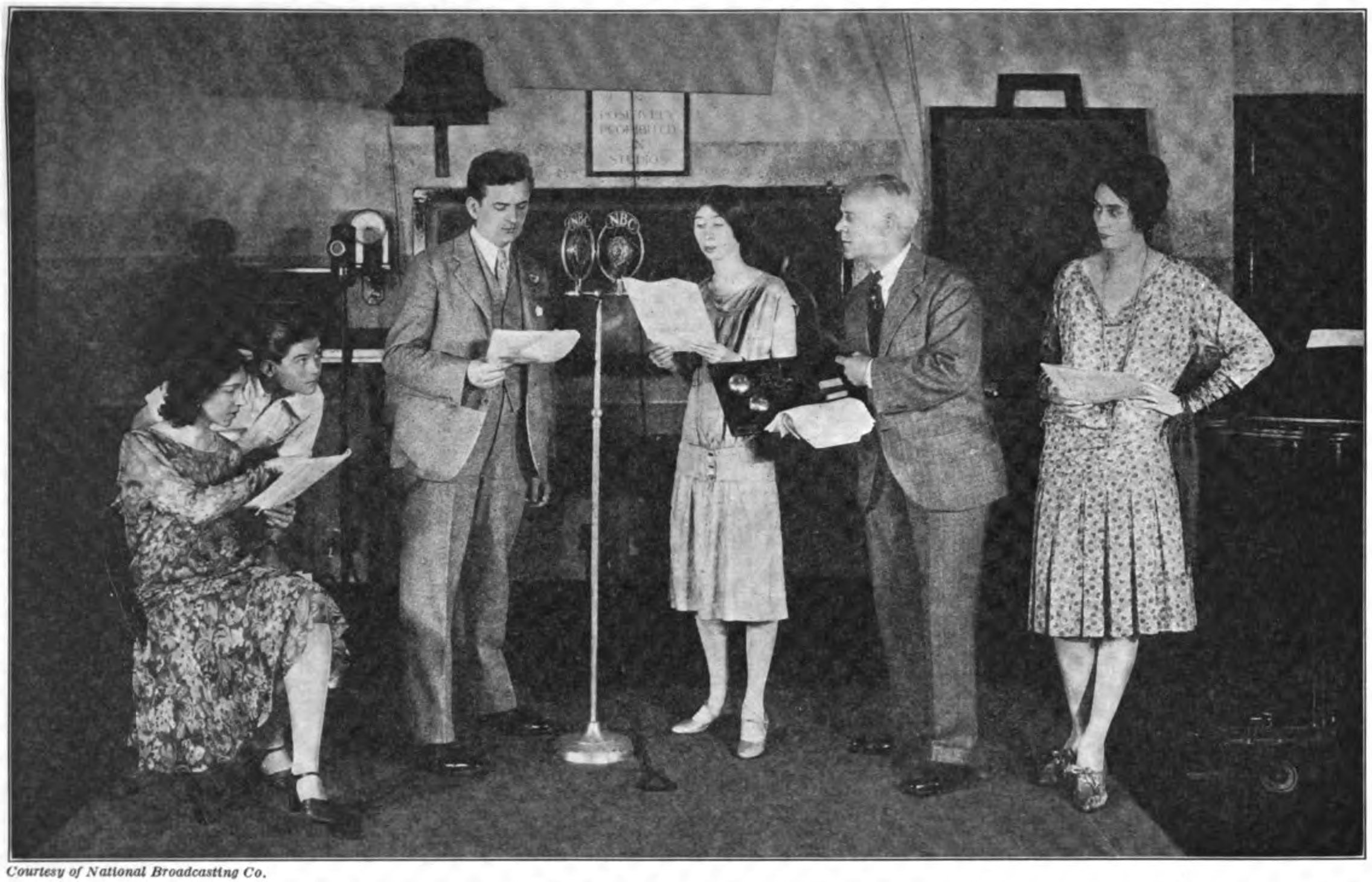 A live radio play being broadcast at NBC studios in New York. Since recording technology was primitive and costly during the 20s, most programs were broadcast live.