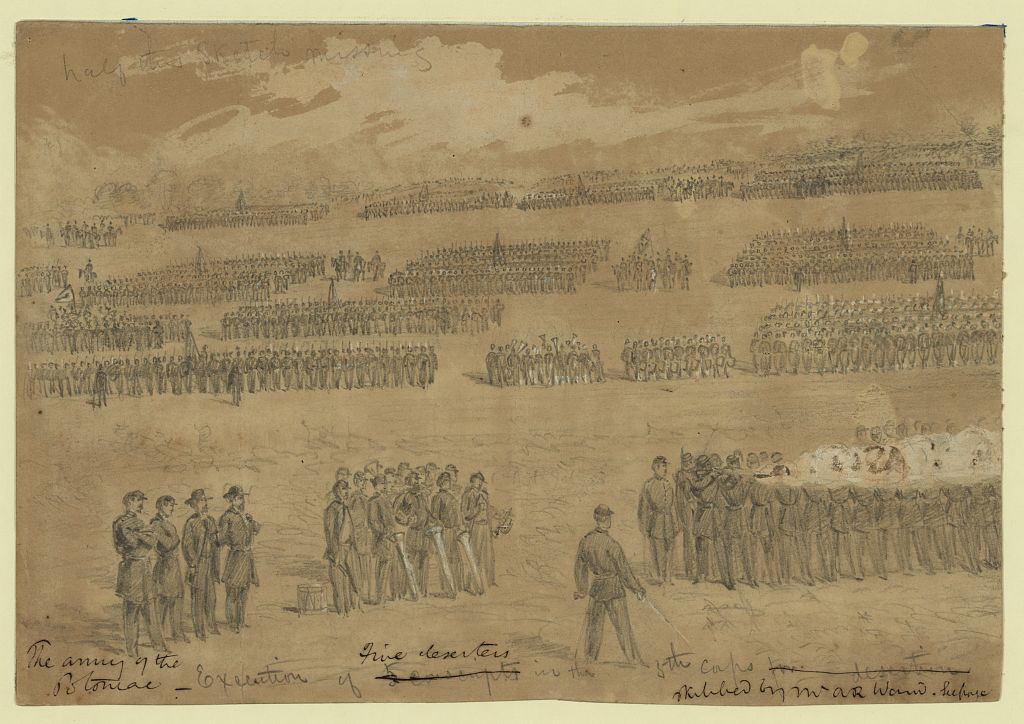 Illustration of deserters being executed during Civil War.1864