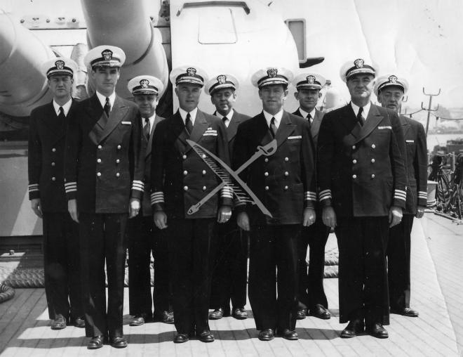 Last photo of officers of USS Indianapolis before leaving California with A bomb. L to R - front row: Commander Page Hill, Captain McVay, CDR. Joe Flynn, CDR. Glen F. DeGrave L to R - back row: LCDR. C.M Christiansen, LCDR KC Moore, LCDR. Dr. L. Haynes, LCDR. Earl Henry, LCDR. Charles Hayes -