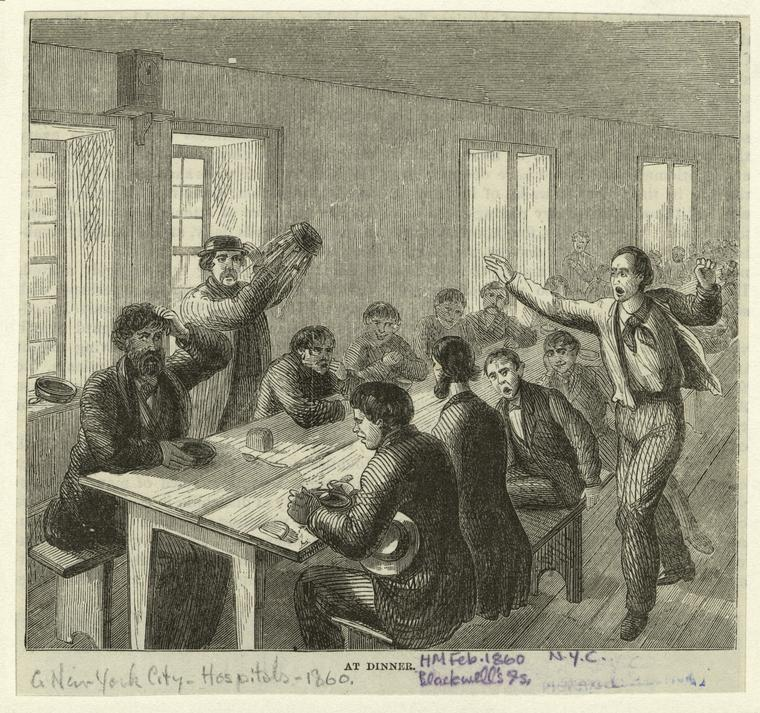 An illustration of dinner in the asylum.
