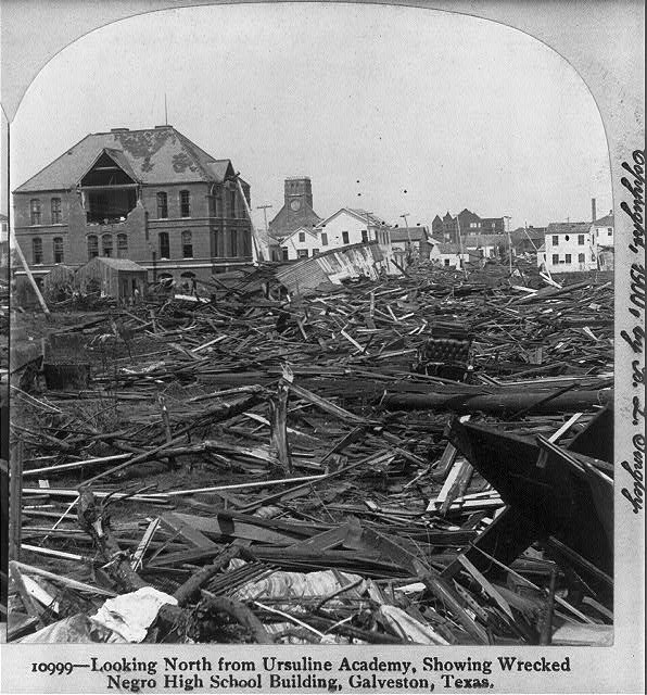 Destroyed High School in Galveston, Texas 1900