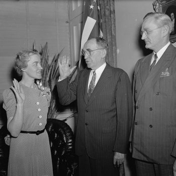 Margaret Chase Smith follows in husband's footsteps. Washington, D.C., June 10, 1940. Margaret Chase Smith, wife of the late Rep. Clyde Smith, Republican, of Maine, was sworn in today to fill the vacancy left by her husband. Left to right in the picture: Margaret Chase Smith, Speaker William Bankhead, and Rep. James C. Oliver, Republican of Maine, who sponsored Mrs. Smith Library of Congress.